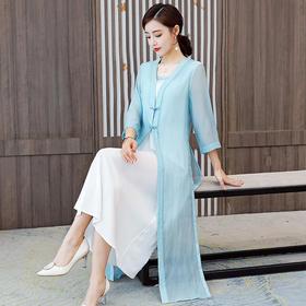 HT9166新款中国风优雅气质V领假两件连衣裙TZF