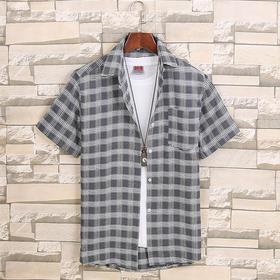 GL-JJ-6新款潮流时尚百搭男士短袖格子衬衫TZF