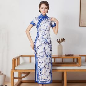 FD-QC1697909新款优雅气质立领手工盘扣真丝印花长款旗袍裙TZF(可定制)