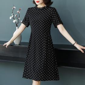 XFFS8654新款时尚优雅气质短袖印花连衣裙TZF