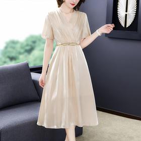 XFFS9819新款时尚优雅气质收腰显瘦V领短袖连衣裙TZF