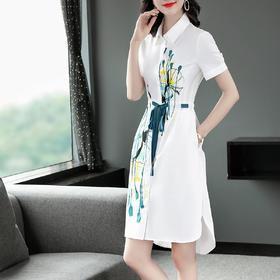 PDD-LYFS200710新款时尚优雅气质系带收腰显瘦V领印花连衣裙TZF