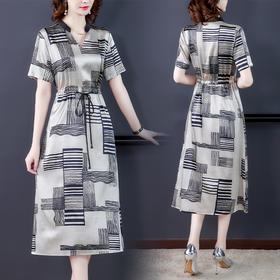 XFFS5677新款时尚气质收腰显瘦V领短袖印花连衣裙TZF