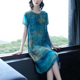 XFFS8804新款时尚优雅气质宽松短袖印花中长款连衣裙TZF