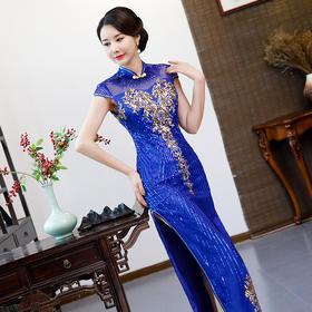 QDFZ078新款优雅气质修身蕾丝绣花亮片长款礼服裙TZF