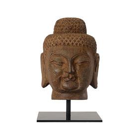 青石佛头摆件饰品客厅玄关中式禅意创意造型复古如来佛