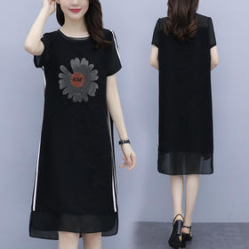 YHSS617145新款时尚优雅气质宽松短袖印花中长连衣裙TZF