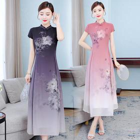 HT9303新款中国风优雅气质修身显瘦立领短袖印花连衣裙TZF