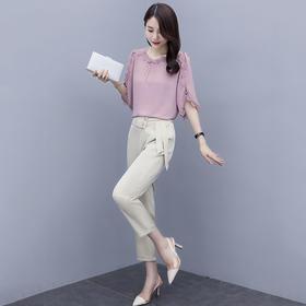 【寒冰紫雨】  赫本风轻熟风明星同款夏季两件套裤装女新款时尚洋气气质雪纺职业套装潮    CCCHZ0820