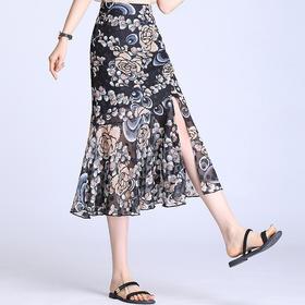 XZH-MTYR2029新款高腰垂感开叉雪纺印花半身裙TZF