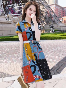 HT5133新款时尚气质收腰显瘦翻领短袖印花衣裙TZF