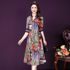 YMR8347新款时尚优雅气质修身显瘦立领短袖印花连衣裙TZF