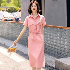 【寒冰紫雨】  夏季单排多扣收腰显瘦通勤韩版气质优雅短袖纯色连衣裙 紫色   CCCYQ0802