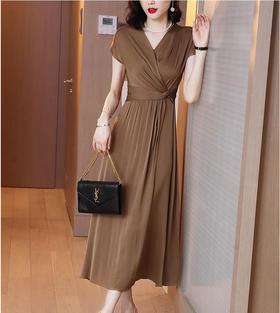 XFFS2433新款时尚优雅气质修身V领短袖长款连衣裙TZF