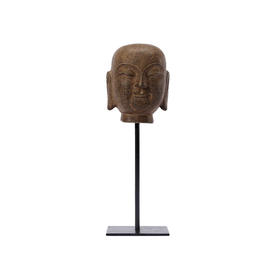 青石和尚石头人物摆件中式禅意创意造型软装饰品桌面摆件