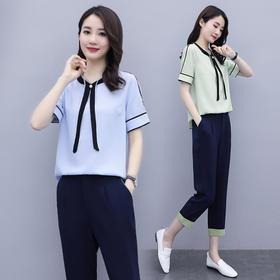 XP-MKYX2065新款时尚气质宽松舒适雪纺衫七分裤两件套TZF