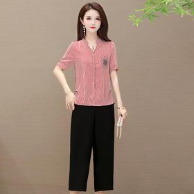 QYM-YXJY-AL2023新款时尚洋气V领条纹上衣阔腿裤两件套TZF
