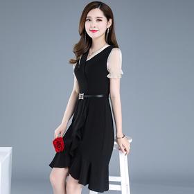 QYM-XY-20YQ9030新款时尚优雅气质收腰显瘦不规则拼接短袖连衣裙TZF