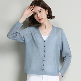 FCY78912新款时尚气质V领薄短款防晒针织开衫外套TZF