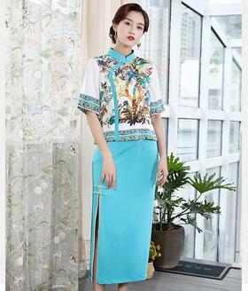 DLQ-A2532新款中国风气质印花旗袍上衣开叉半身裙TZF