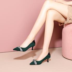 OLD-C996-23新款时尚气质水砖蝴蝶结尖头浅口细高跟鞋TZF