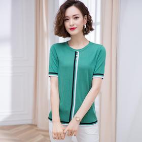 FCY-ZYA5721宽松洋气条纹冰丝针织t恤TZF