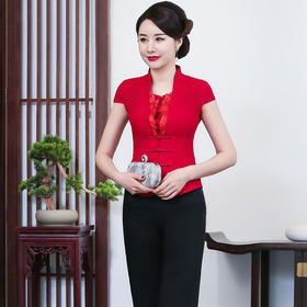 LYE2048新款优雅气质改良棉麻刺绣唐装上衣两件套TZF