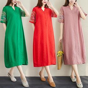 HT2074新款民族风优雅宽松气质棉麻短袖刺绣连衣裙TZF