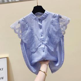 【寒冰紫雨】欧洲站甜美上衣服 夏装新品拼接系飞飞袖雪纺衬衫韩版 CCCYQ603