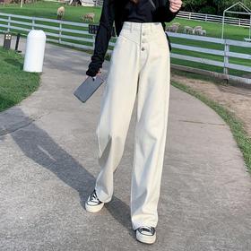【寒冰紫雨】飞机头设计夏天牛仔裤女新款 浅色阔腿裤高腰直筒宽松韩版垂感小个子拖地裤子   CCCYQ8467