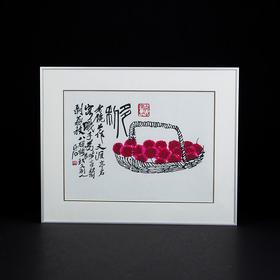 樱桃剪纸画