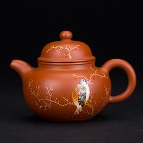 阳士琦·紫砂壶单鸟(红朱泥扁圆)