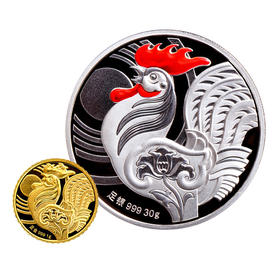 鸡年生肖富贵大吉金银纪念章(1克金+30克银)
