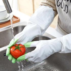 彩色指尖洗碗手套女防水橡胶乳胶薄款厨房家务清洁手套