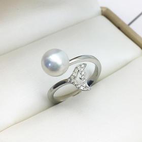 好运尾随*S925银天然淡水珍珠戒指  可调节