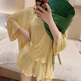 【坠垂丝滑 舒适透气 居家必备】含即安睡 美肌丝睡衣三件套 4色可选 美肌丝料冰淇淋质感 简约时髦