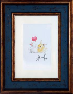 水彩 兔子  Athena 15×20cm(带框)
