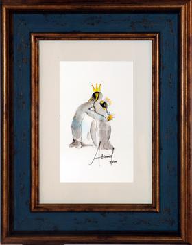 水彩 企鹅  Athena 15×20cm(带框)