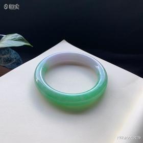 60.4mm糯种春彩圆条翡翠手镯