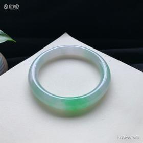 56.4mm冰糯种飘绿圆条翡翠手镯