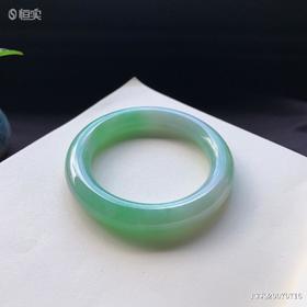 55.2mm糯种绿色圆条翡翠手镯