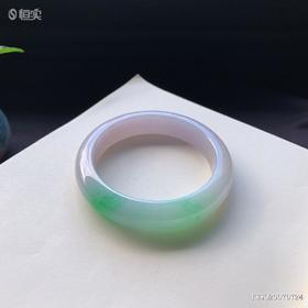 53.4mm糯种春彩翡翠手镯