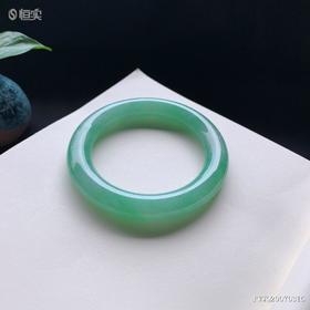 55mm糯种满绿圆条翡翠手镯