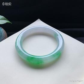 57.5mm糯种绿色圆条翡翠手镯