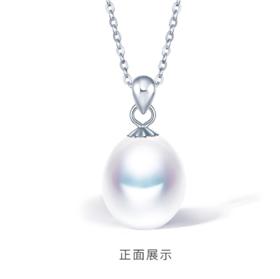 时尚韩版珍珠吊坠S925银气质圆珠水滴淡水珍珠项链女