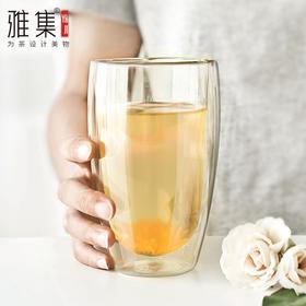 雅集 双层加厚极简杯 耐热双层玻璃杯 透明杯咖啡杯绿茶杯 450ml