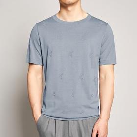 墨麦客男装2020夏季新款圆领桑蚕丝针织T恤男士刺绣短袖体恤7728