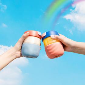 吻吻鱼彩虹杯元气少女可爱带盖玻璃杯便携咖啡杯简约清新森系水杯
