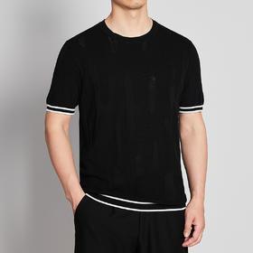 墨麦客男装2020夏季新款圆领撞色针织T恤男士短袖桑蚕丝体恤7730