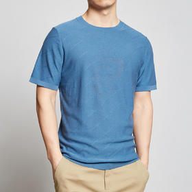 墨麦客男装2020夏季新款圆领条纹镂空桑蚕丝圆领针织短袖t恤7733